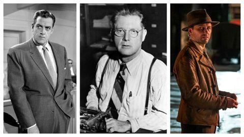 El escritor Erle Stanley Gardner (1889-1970), flanqueado por los actores Raymond Burr, que encarnó al Perry Mason más popular, y por Matthew Rhys, que da vida al personaje para la nueva serie de HBO