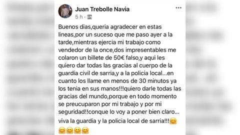 El mensaje de Juan Trebolle en Facebook