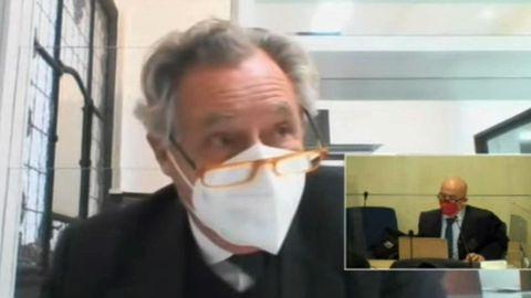 Captura de televisión de la señal institucional de la Audiencia Nacional durante la declaración de Ignacio López del Hierro