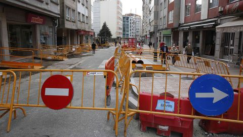 Obras en la calle Loureiro Crespo, en Pontevedra