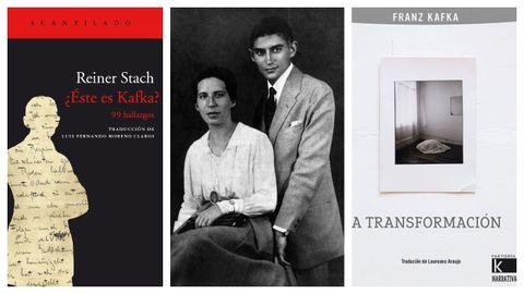 Retrato de Kafka y Felice Bauer, flanqueado por las portadas de los libros de Acantilado y Kalandraka