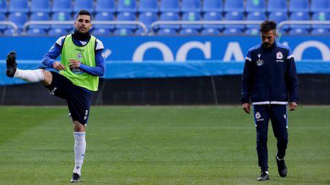 Eneko Bóveda y Rubén de la Barrera, durante un entrenamiento del Deportivo