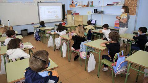 Imagen de archivo de una clase de primaria en Lugo