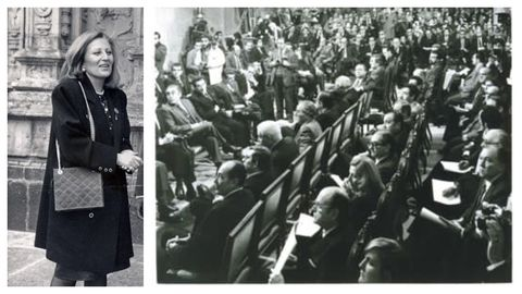 Carmen Lovelle, durante os anos nos que estivo na Cámara autonómica; na primeira sesión, á dereita, atópase ao carón de Albor; distínguese, con melena, por ser a única muller entre unha inmensa maioría de homes