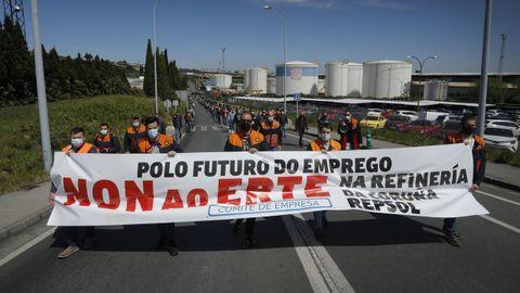 Manifestación este viernes en A Coruña contra el ERTE en la refinería