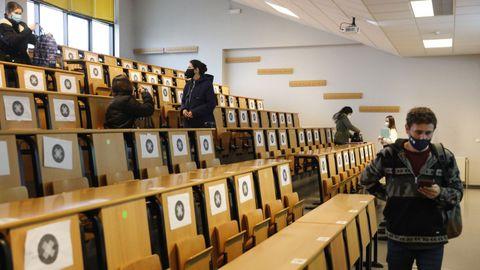 Imagen de un aula en el Campus de Ourense