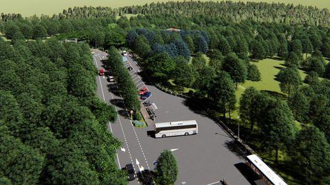 Parque Central de Galicia: zona de aparcamiento