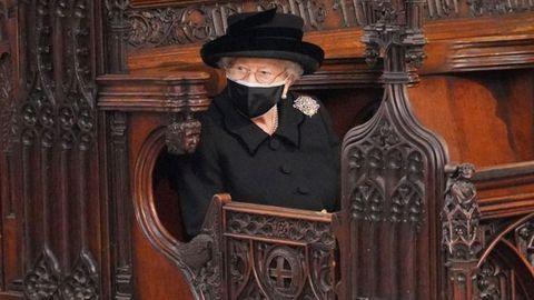 La reina Isabel, durante el funeral del duque de Edimburgo