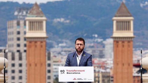 El candidato de ERC a la Presidencia de la Generalitat, Pere Aragonès, en el acto que ERC ha celebrado este sábado en Barcelona para conmemorar el 90 aniversario de la proclamación de la «república catalana» en una «federación ibérica»