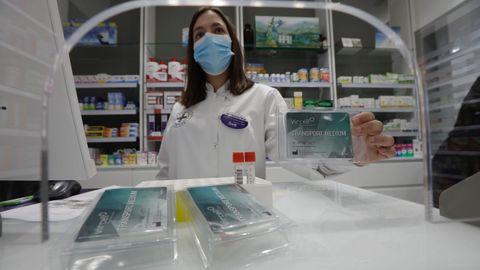 Kits para la detección del covid-19 que han comenzado a entregar entre adolescentes de 12 a 17 años en las farmacias de A Coruña. En la imagen, la farmacia Ventura