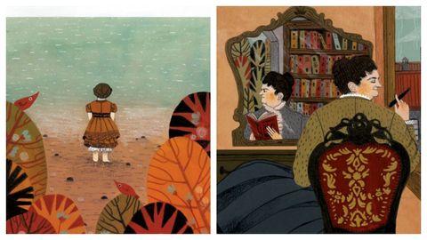 Detalle de dos de las ilustraciones obra de Bea Gregores que embellecen el texto de María Canosa