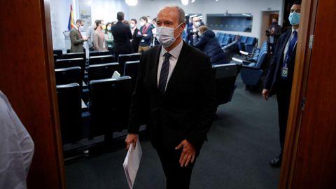 El ministro de Justicia, Juan Carlos Campo, en la sala de prensa de la Moncloa