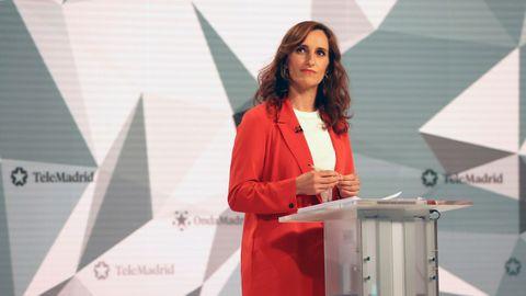 La candidata de Más Madrid, Mónica García, en el debate electoral.