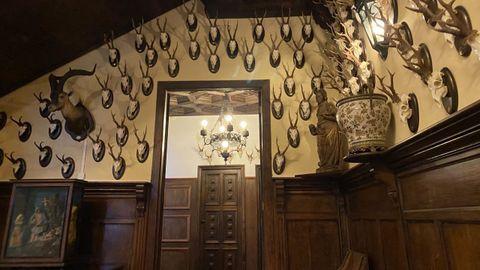 Trofeos de caza en una de las paredes del pazo de Meirás