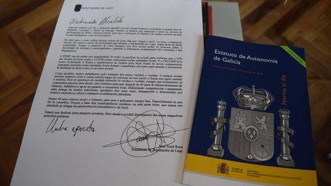 La carta personal de José Tomé con el ejemplar del Estatuto de Autonomía