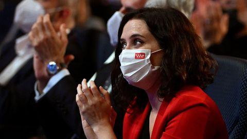 La presidenta de la Comunidad de Madrid y candidata del PP a la reelección, Isabel Díaz Ayuso, en un acto de campaña celebrado este lunes en Torrejón de Ardoz.