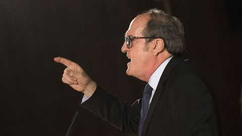 El candidato del PSOE, Ángel Gabilondo, este martes en un acto electoral en Fuenlabrada (Madrid)