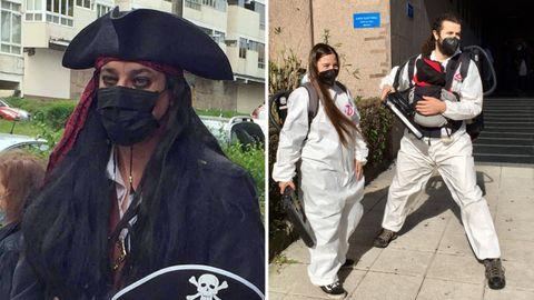 Los Jack Sparrow a los que se vetó el enlace en Vigo; y los que sí pudieron casarse en la misma ciudad, ataviados de Cazafantasmas