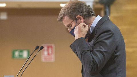 Feijoo, antes de iniciar la rueda de prensa del Consello de la Xunta