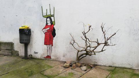 Obra de Primo de Banksy en el Casco Vello de Vigo