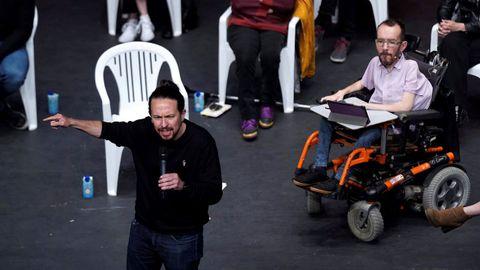 El candidato de Unidas Podemos, Pablo Iglesias, y el portavoz parlamentario, Pablo Echenique, este jueves en un acto en Leganés