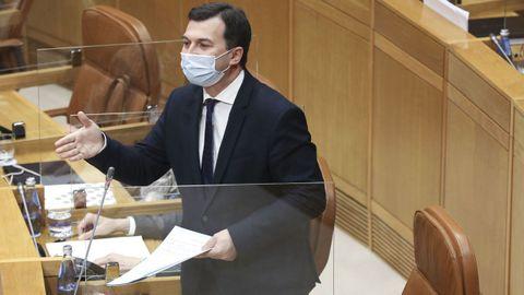 Gonzalo Caballero, en el Parlamento gallego en la sesión de esta semana