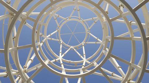 Otra fotografía del pabellón de España en la expo de Dubái. Arquitectos: Amman, Cánovas y Maruri / Estructuras: Mecanismo