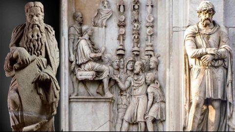 A la izquierda, el profeta Ezequiel del maestro Mateo, que se encuentra en Meirás; a la derecha, foto del Arco de Constantino con un cautivo dacio, procedente del Foro de Trajano, y un relieve con el emperador ofreciendo clemencia a los bárbaros procedente de un monumento de Marco Aurelio
