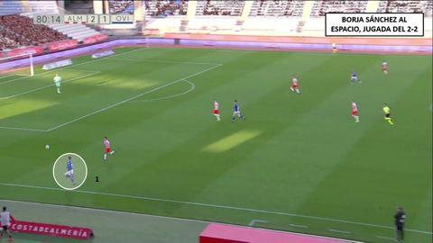 Jugada que precede a la falta que acaba en el empate. 1-Borja Sánchez amenazando al espacio y situación de uno contra uno ante Buñuel