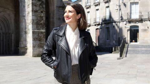 Silvia Jato fotografiada esta semana junto a la catedral de Lugo