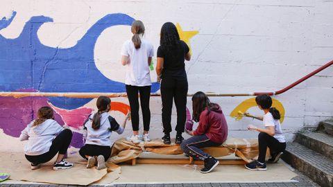 Mural en el IES O Couto