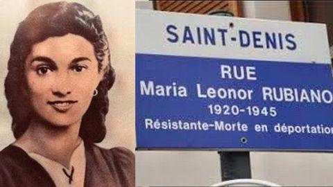 María Leonor Rubiano, asturiana deportada al campo nazi de Ravensbrück donde fue asesinada en 1945. A la derecha, placa de la calle que le dedicaron en Saint-Denis (Francia)
