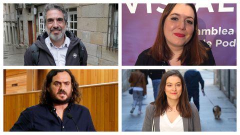 De izquierda a derecha, y de arriba a abajo, Daniel Liceras, de Máis País; Ángela Rodríguez, de Podemos; Antón Sánchez, de Anova; y Eva Solla, de Esquerda Unida