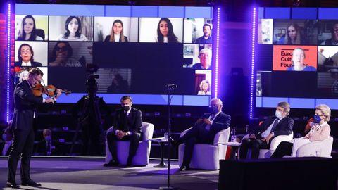 Macron, Costa, Sassoli  y Von der Leyen escuchan al violinista Renaud Capucon en la inauguración de la Conferencia sobre el Futuro de Europa en Estrasburgo