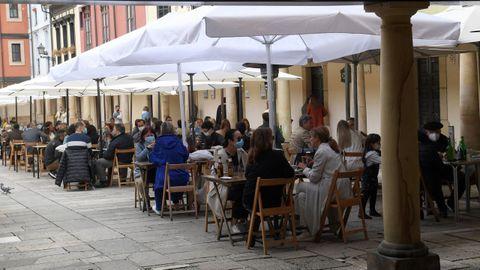 Terrazas en la Plaza del Fontán en Oviedo