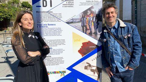 Teresa Cuiñas y Pepe Cunha, comisarios da exposición sobre as cancions en galego en Pontevedra