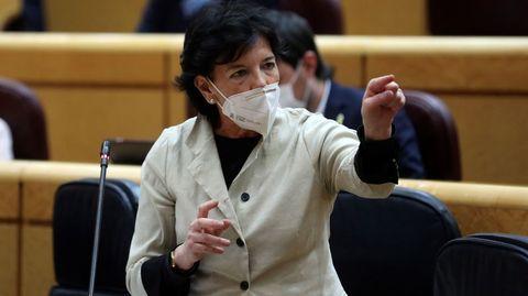 Isabel Celaá, en una sesión de control al Gobierno celebrada este martes en el Senado