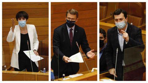 Ana Pontón, Alberto Núñez Feijoo y Gonzalo Caballero, esta mañana en la sesión de control en el Parlamento