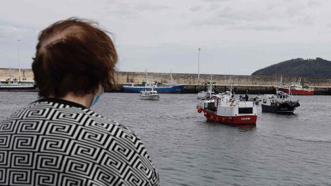 La protesta de la bajura en el puerto de Celeiro, en Viveiro