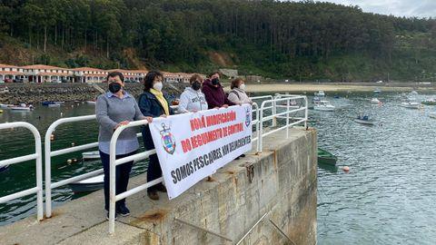 Mariscadoras en la protesta en Cedeira