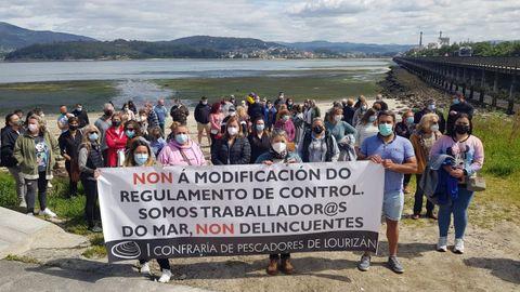 La protesta de mariscadoras en Lourizán