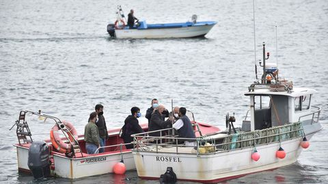Otra escena de la protesta en el puerto de A Coruña