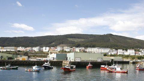 Parte de la flota participante en la protesta en Burela