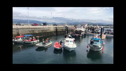 Barcos en la protesta de Vilaxoán