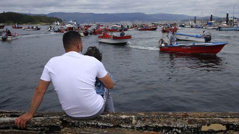 Embarcaciones en la protesta en A Illa de Arousa