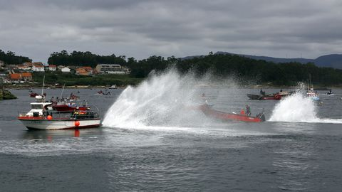 Barcos en la protesta de A Illa de Arousa