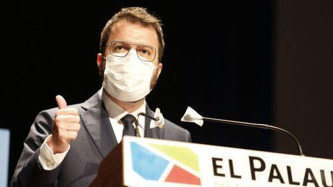 Pere Aragonès, este viernes en un acto en Tarragona