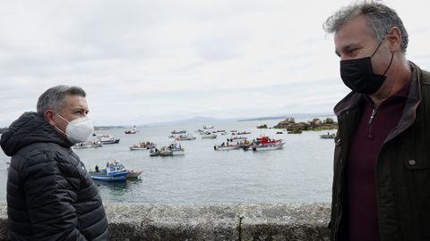 Protesta flota de bajura en Ribeira