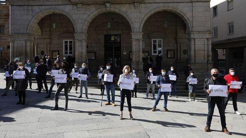 Concentración de protesta de los trabajadores del Concello de Ourense