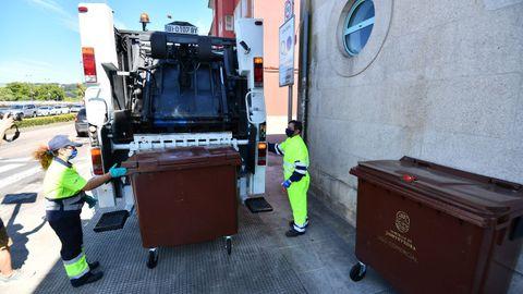 Recogida de contenedores marrones del plan Composta en el centro de Pontevedra